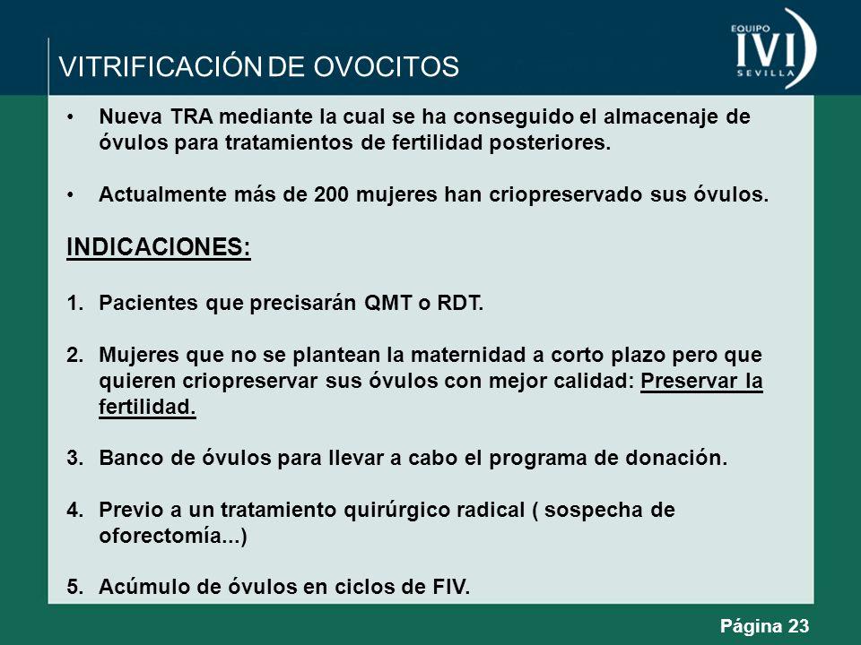 VITRIFICACIÓN DE OVOCITOS Nueva TRA mediante la cual se ha conseguido el almacenaje de óvulos para tratamientos de fertilidad posteriores. Actualmente