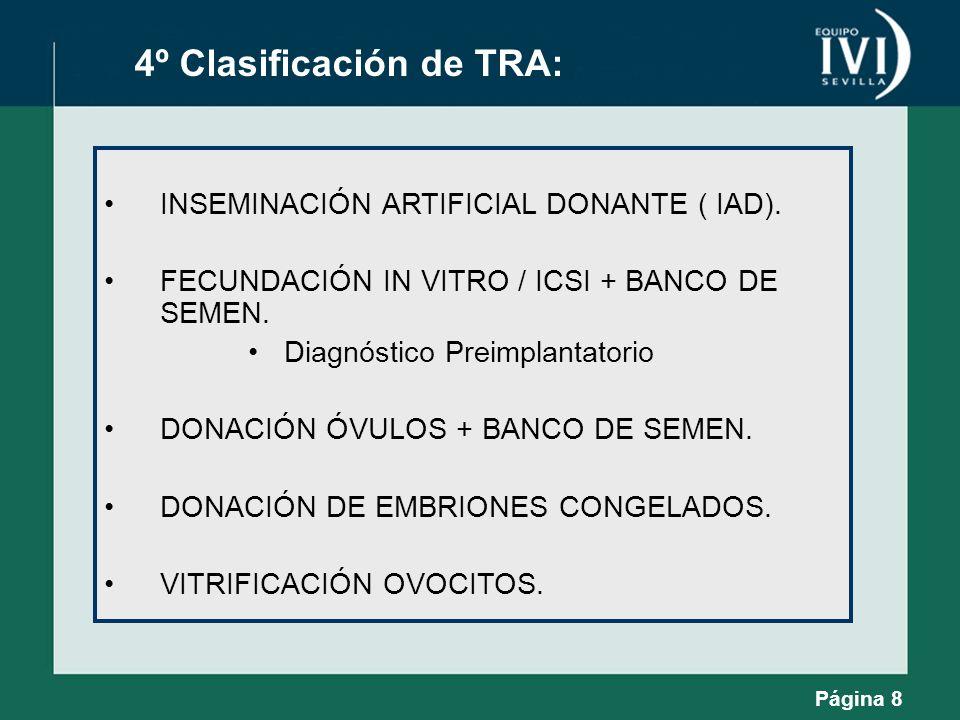 Página 8 4º Clasificación de TRA: INSEMINACIÓN ARTIFICIAL DONANTE ( IAD). FECUNDACIÓN IN VITRO / ICSI + BANCO DE SEMEN. Diagnóstico Preimplantatorio D
