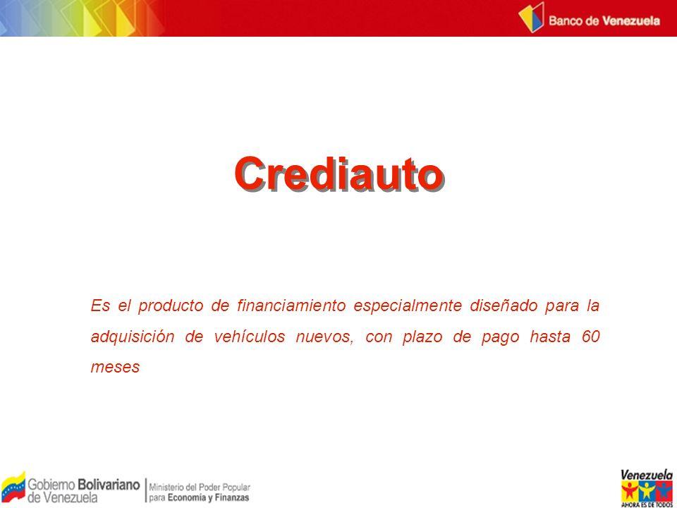 Crediauto Es el producto de financiamiento especialmente diseñado para la adquisición de vehículos nuevos, con plazo de pago hasta 60 meses