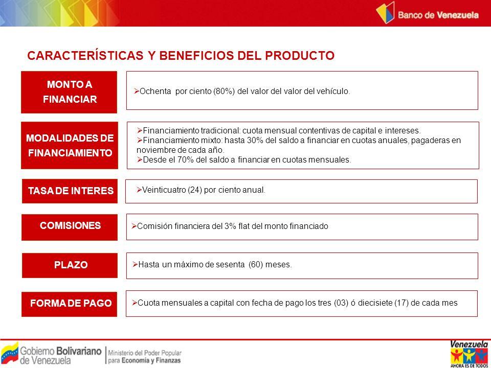REQUISITOS DEL PRODUCTO Tener o abrir una cuenta corriente o de ahorro en el Banco de Venezuela.