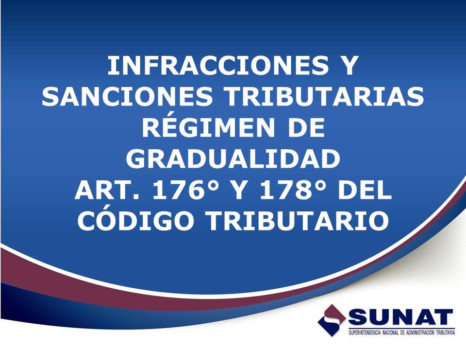 INFRACCIONES Y SANCIONES TRIBUTARIAS RÉGIMEN DE GRADUALIDAD ART. 176° Y 178° DEL CÓDIGO TRIBUTARIO