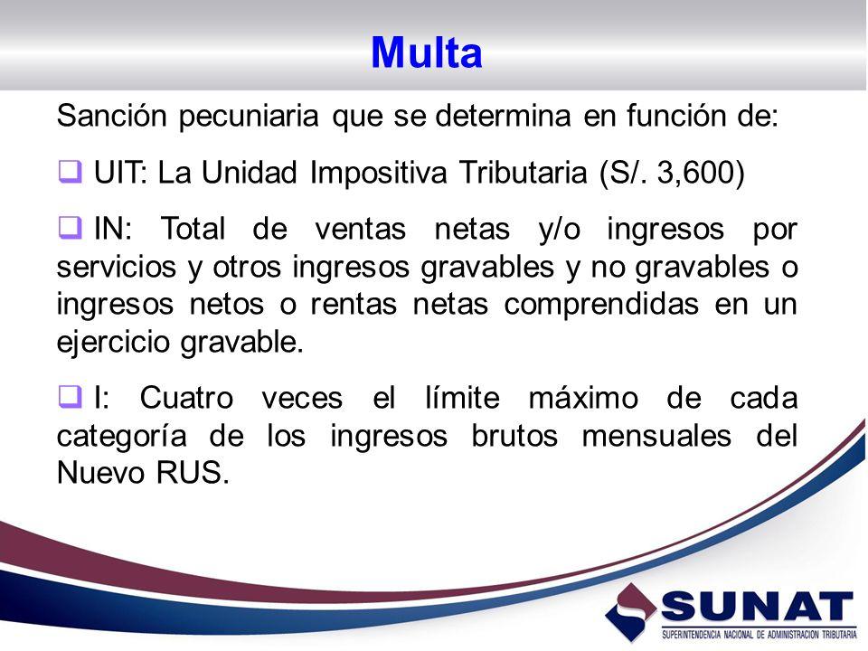 Multa Sanción pecuniaria que se determina en función de: UIT: La Unidad Impositiva Tributaria (S/. 3,600) IN: Total de ventas netas y/o ingresos por s