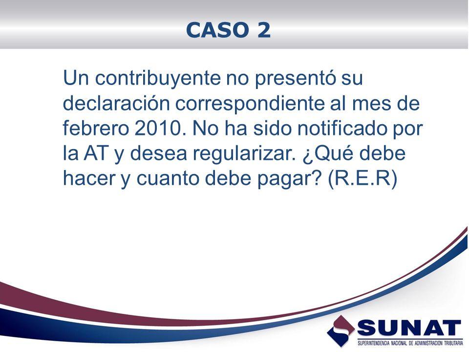 CASO 2 Un contribuyente no presentó su declaración correspondiente al mes de febrero 2010. No ha sido notificado por la AT y desea regularizar. ¿Qué d