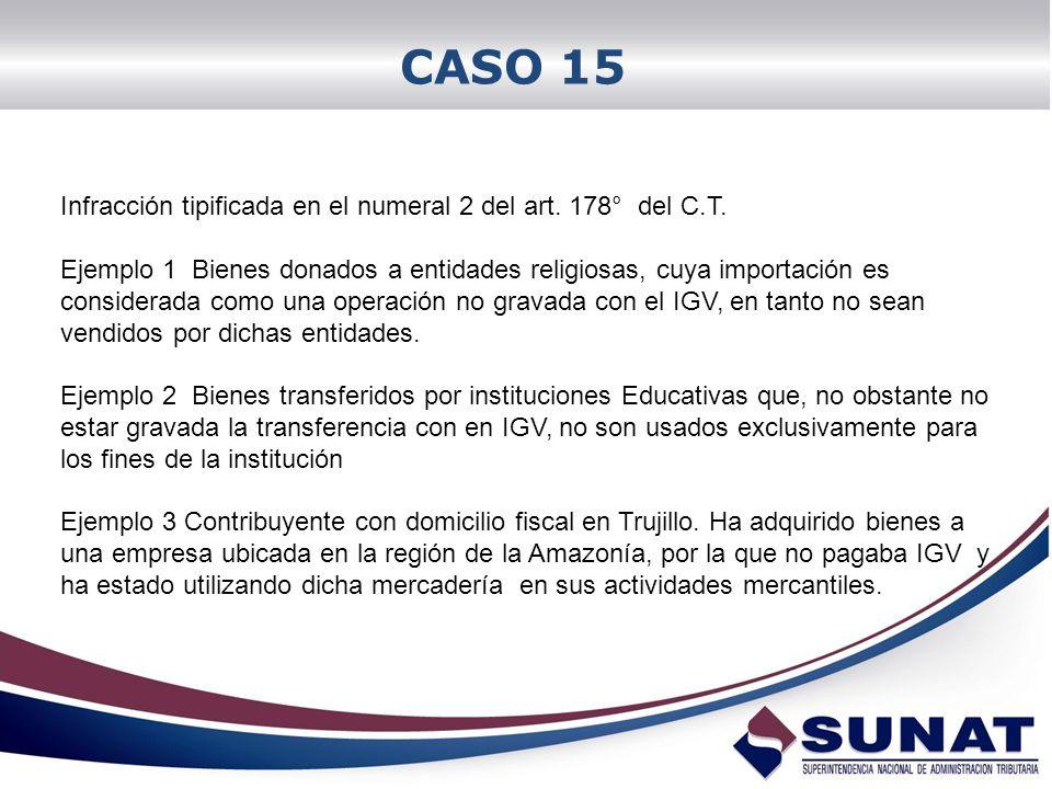 CASO 15 Infracción tipificada en el numeral 2 del art. 178° del C.T. Ejemplo 1 Bienes donados a entidades religiosas, cuya importación es considerada