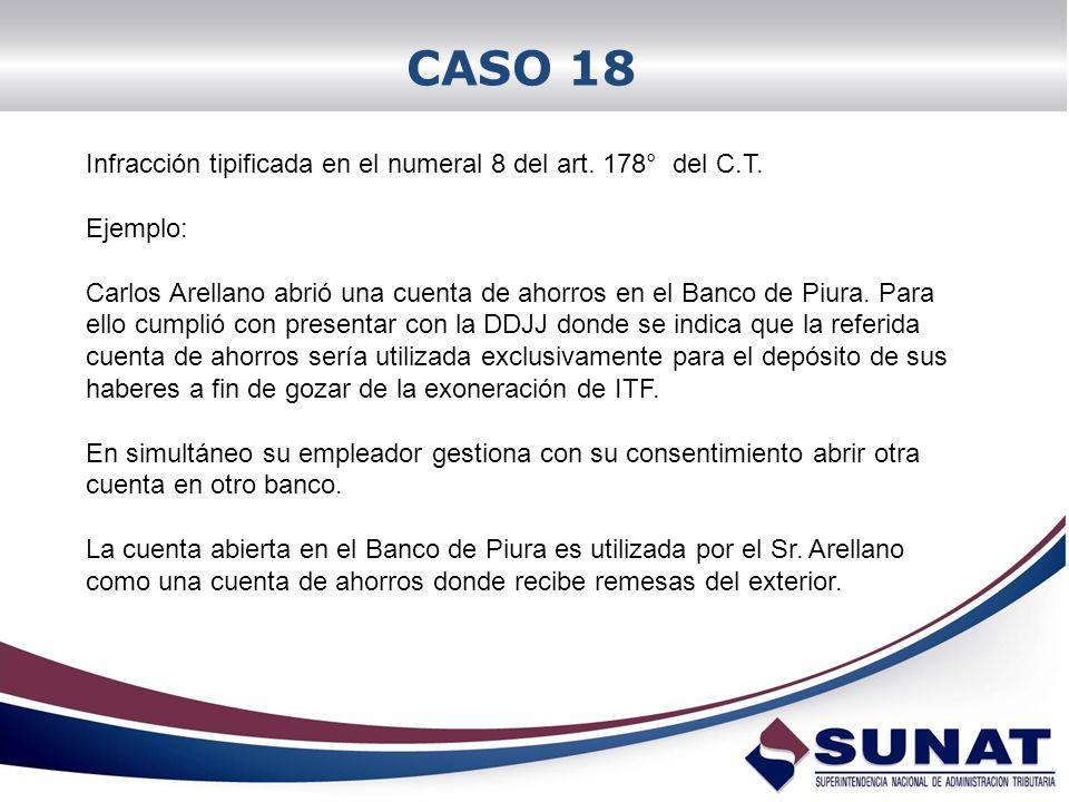 CASO 18 Infracción tipificada en el numeral 8 del art. 178° del C.T. Ejemplo: Carlos Arellano abrió una cuenta de ahorros en el Banco de Piura. Para e