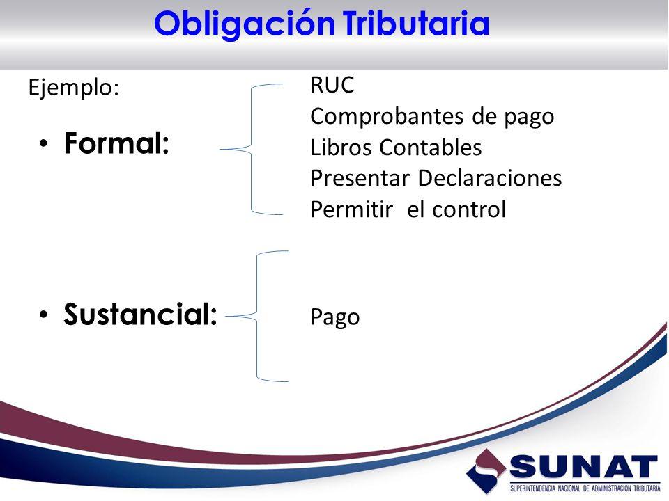 Obligación Tributaria Formal: Sustancial: RUC Comprobantes de pago Libros Contables Presentar Declaraciones Permitir el control Pago Ejemplo: