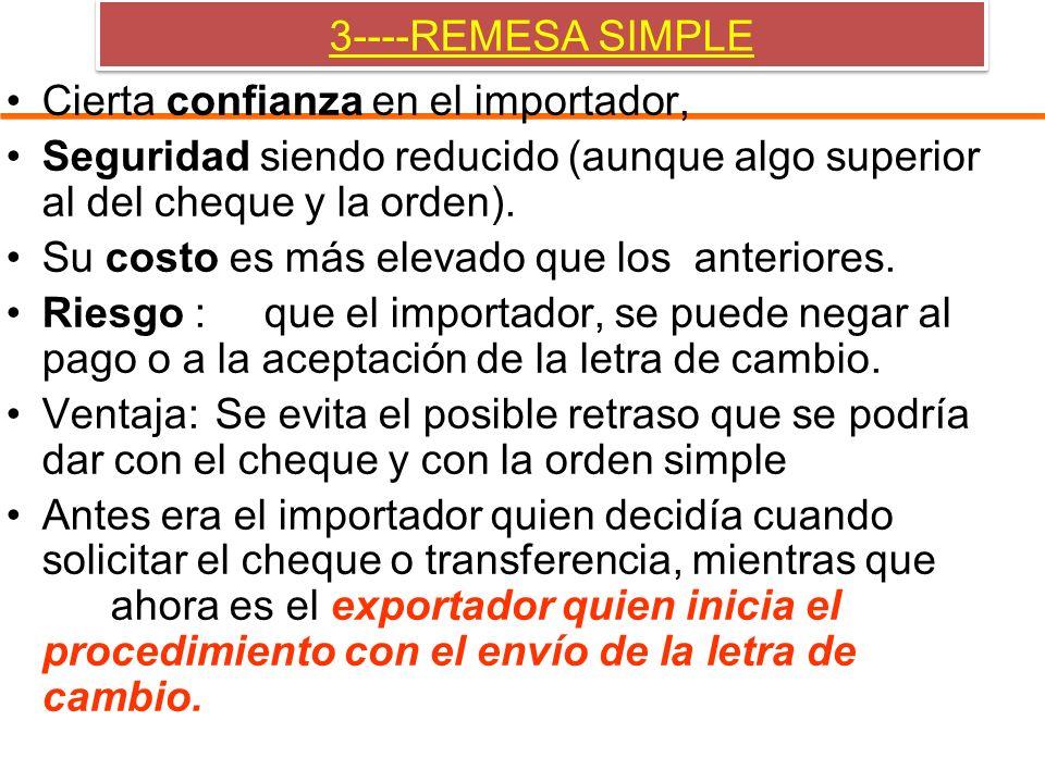 3----REMESA SIMPLE Cierta confianza en el importador, Seguridad siendo reducido (aunque algo superior al del cheque y la orden). Su costo es más eleva