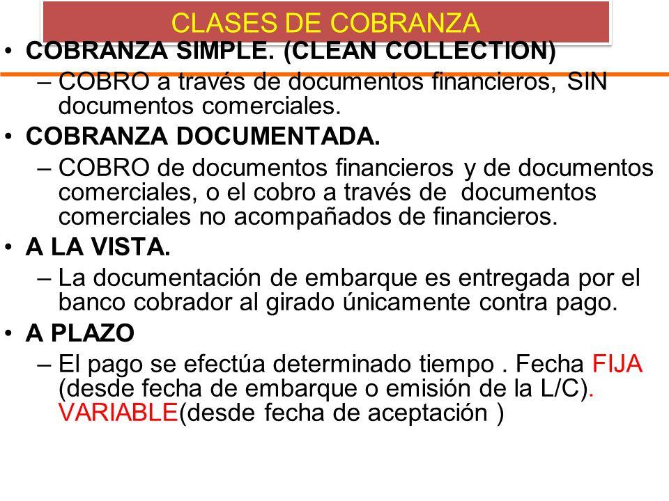 CLASES DE COBRANZA COBRANZA SIMPLE. (CLEAN COLLECTION) –COBRO a través de documentos financieros, SIN documentos comerciales. COBRANZA DOCUMENTADA. –C