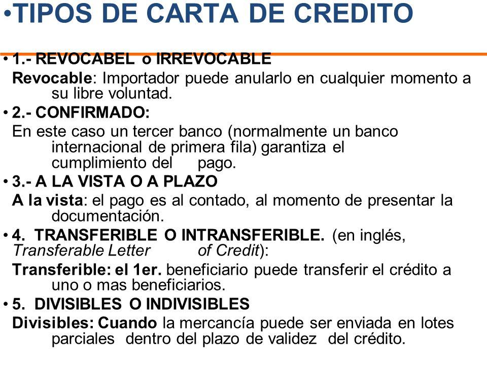 TIPOS DE CARTA DE CREDITO 1.- REVOCABEL o IRREVOCABLE Revocable: Importador puede anularlo en cualquier momento a su libre voluntad. 2.- CONFIRMADO: E