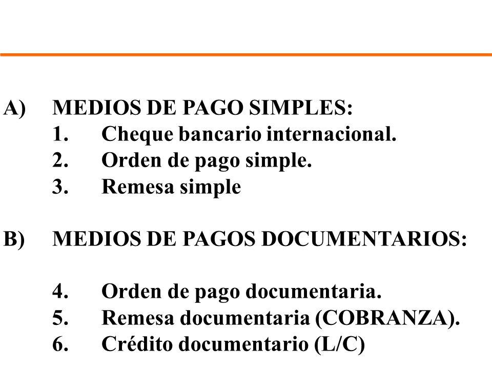 A)MEDIOS DE PAGO SIMPLES: 1.Cheque bancario internacional. 2.Orden de pago simple. 3.Remesa simple B)MEDIOS DE PAGOS DOCUMENTARIOS: 4.Orden de pago do