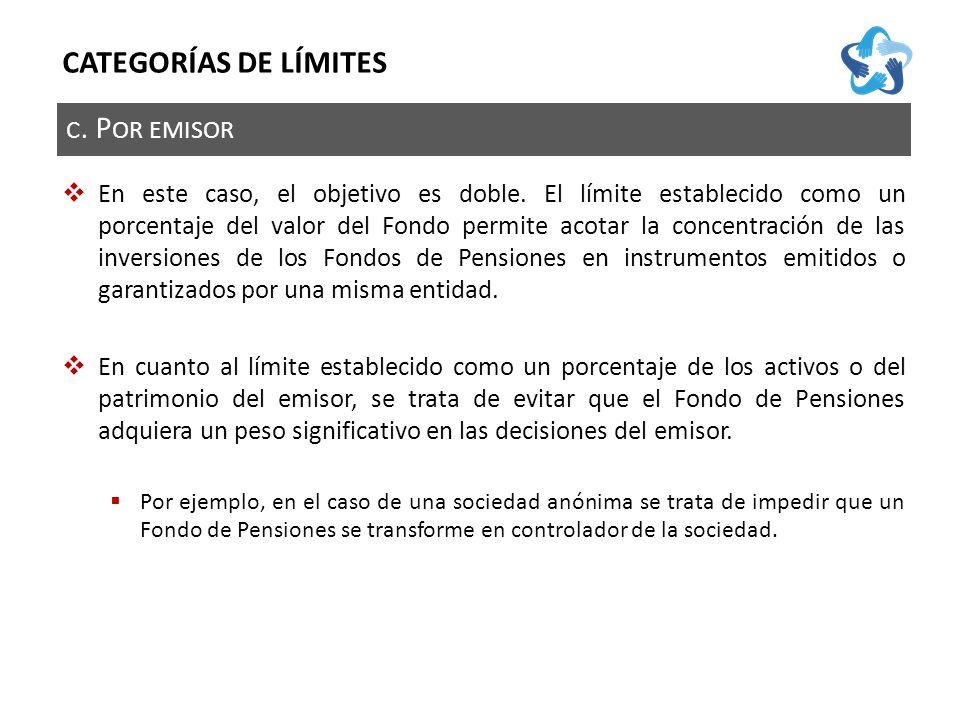 C. P OR EMISOR CATEGORÍAS DE LÍMITES En este caso, el objetivo es doble.