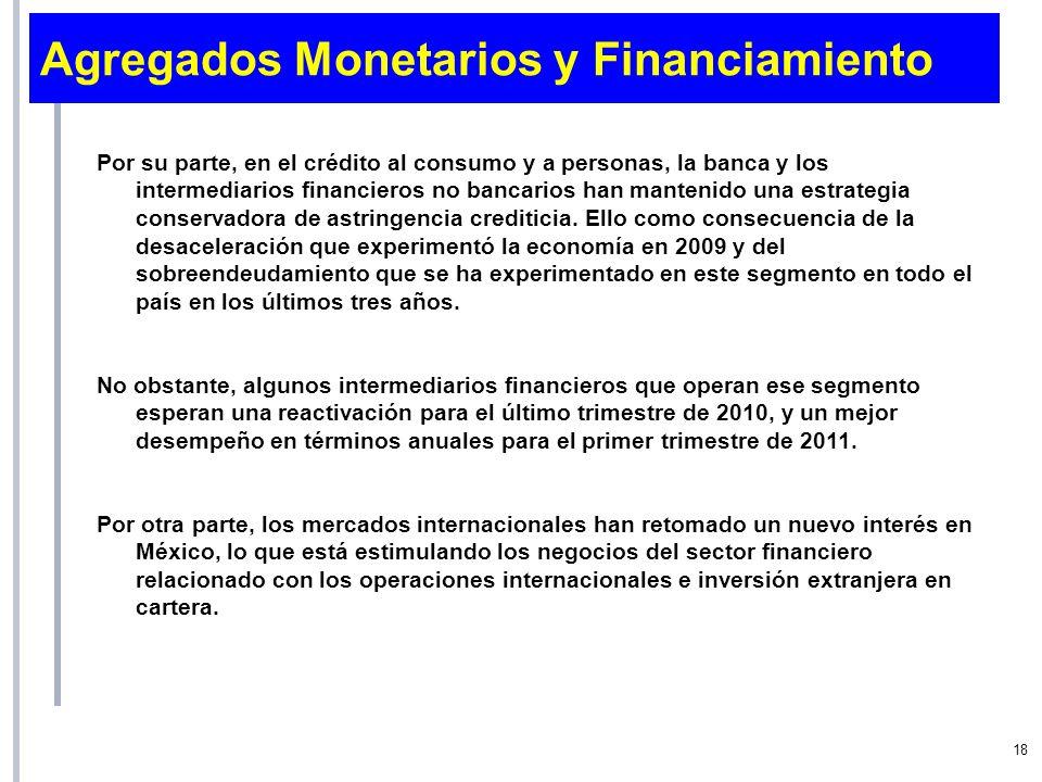 Agregados Monetarios y Financiamiento Por su parte, en el crédito al consumo y a personas, la banca y los intermediarios financieros no bancarios han