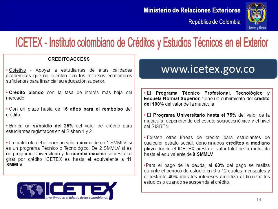 Ministerio de Relaciones Exteriores República de Colombia 14 www.icetex.gov.co CREDITO ACCESS Objetivo - Apoyar a estudiantes de altas calidades acadé