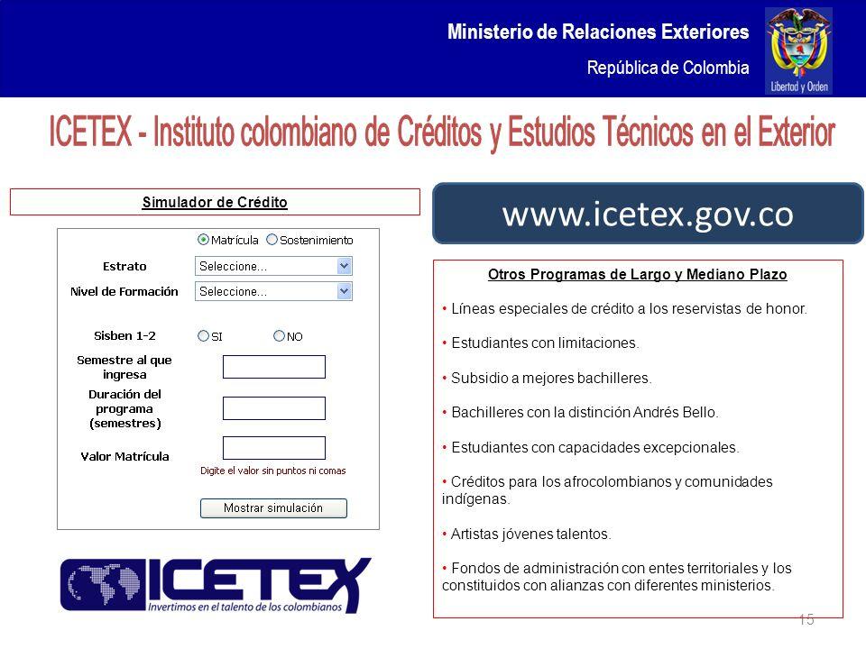 Ministerio de Relaciones Exteriores República de Colombia 15 www.icetex.gov.co Otros Programas de Largo y Mediano Plazo Líneas especiales de crédito a