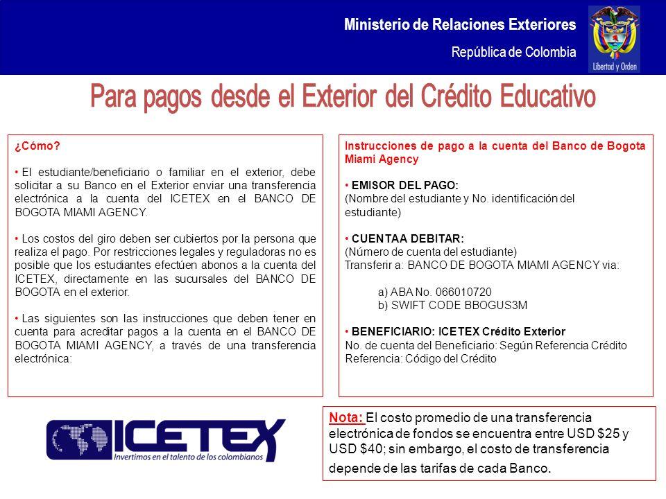 Ministerio de Relaciones Exteriores República de Colombia ¿Cómo? El estudiante/beneficiario o familiar en el exterior, debe solicitar a su Banco en el