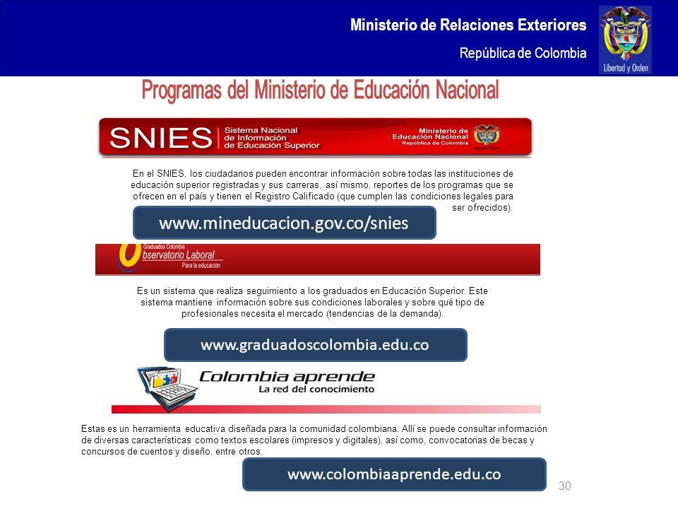 Ministerio de Relaciones Exteriores República de Colombia 30 En el SNIES, los ciudadanos pueden encontrar información sobre todas las instituciones de