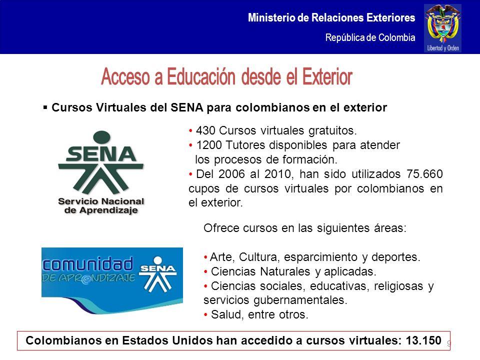 Ministerio de Relaciones Exteriores República de Colombia 9 430 Cursos virtuales gratuitos. 1200 Tutores disponibles para atender los procesos de form
