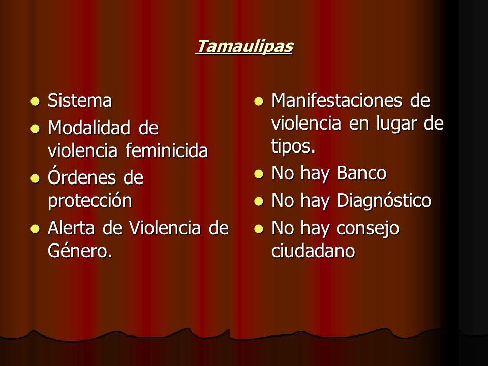 Tamaulipas Sistema Sistema Modalidad de violencia feminicida Modalidad de violencia feminicida Órdenes de protección Órdenes de protección Alerta de V