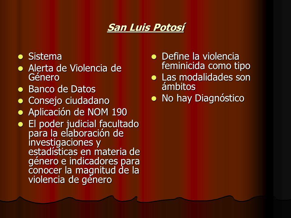 San Luis Potosí Sistema Sistema Alerta de Violencia de Género Alerta de Violencia de Género Banco de Datos Banco de Datos Consejo ciudadano Consejo ci