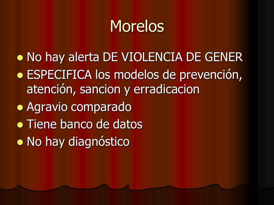 Morelos No hay alerta DE VIOLENCIA DE GENER No hay alerta DE VIOLENCIA DE GENER ESPECIFICA los modelos de prevención, atención, sancion y erradicacion