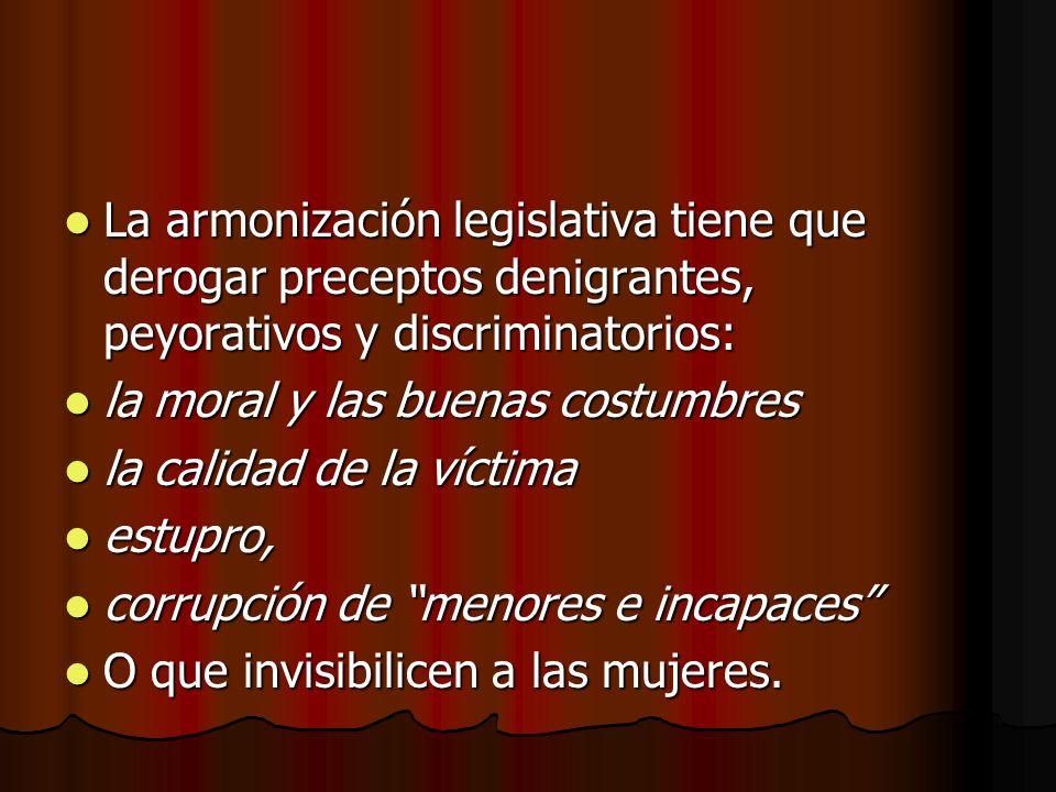 La armonización legislativa tiene que derogar preceptos denigrantes, peyorativos y discriminatorios: La armonización legislativa tiene que derogar pre