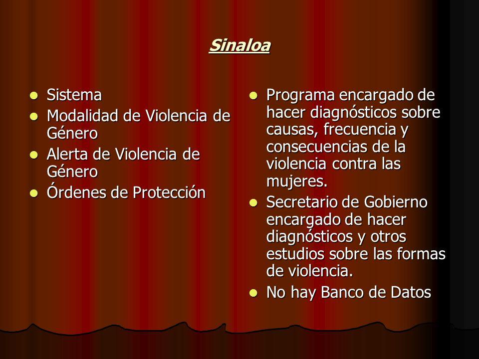 Sinaloa Sistema Sistema Modalidad de Violencia de Género Modalidad de Violencia de Género Alerta de Violencia de Género Alerta de Violencia de Género