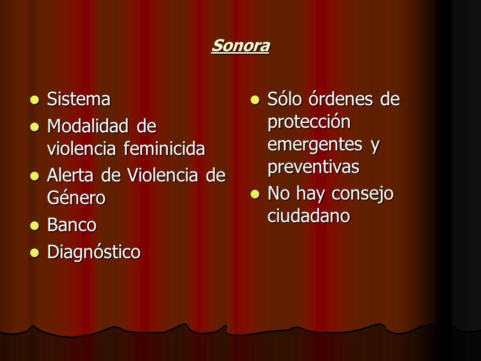 Sonora Sistema Sistema Modalidad de violencia feminicida Modalidad de violencia feminicida Alerta de Violencia de Género Alerta de Violencia de Género