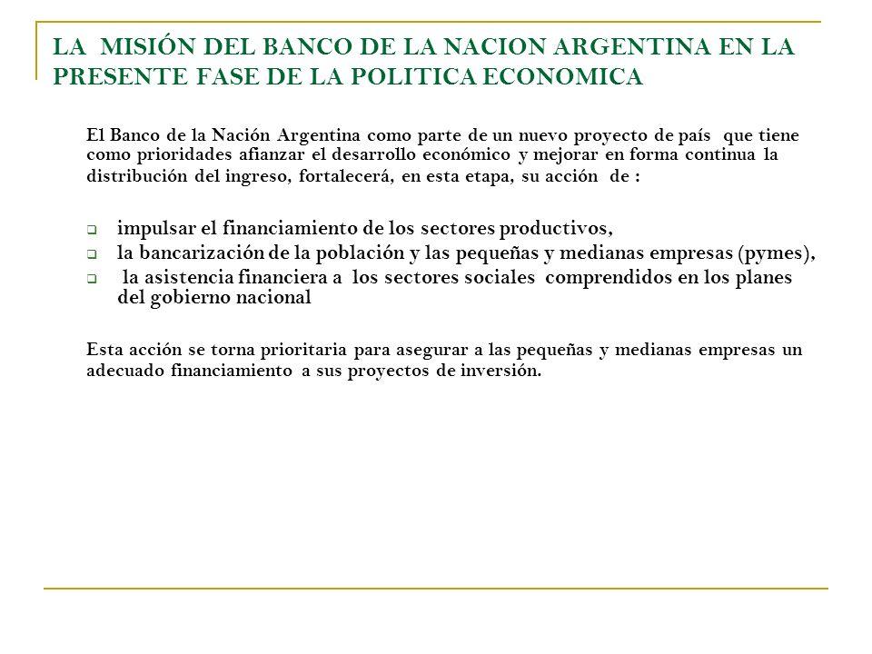 LA MISIÓN DEL BANCO DE LA NACION ARGENTINA EN LA PRESENTE FASE DE LA POLITICA ECONOMICA El Banco de la Nación Argentina como parte de un nuevo proyect