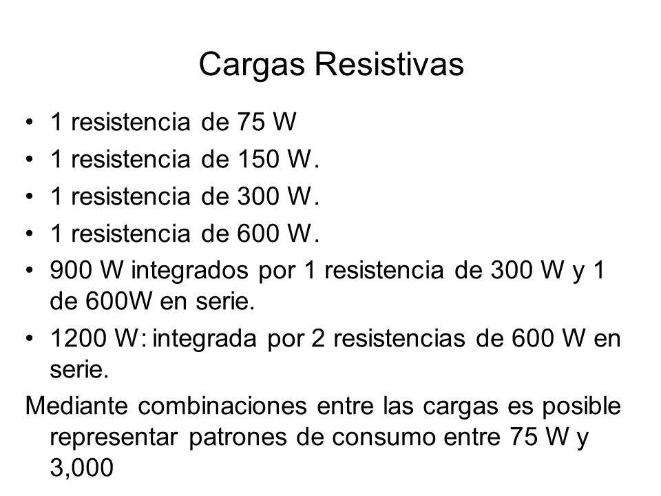 Cargas Resistivas 1 resistencia de 75 W 1 resistencia de 150 W. 1 resistencia de 300 W. 1 resistencia de 600 W. 900 W integrados por 1 resistencia de