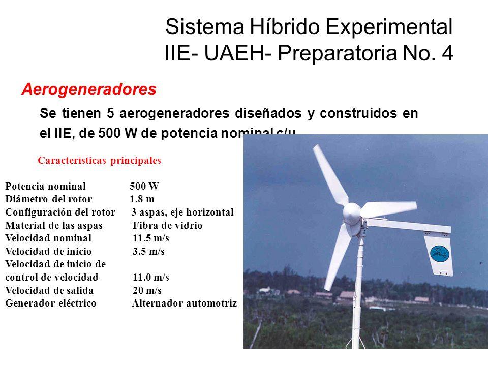 Aerogeneradores Se tienen 5 aerogeneradores diseñados y construidos en el IIE, de 500 W de potencia nominal c/u. Características principales Potencia