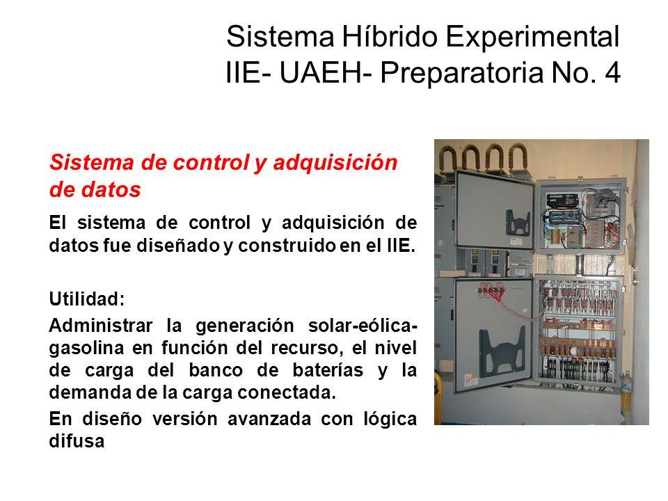 Sistema de control y adquisición de datos El sistema de control y adquisición de datos fue diseñado y construido en el IIE. Utilidad: Administrar la g