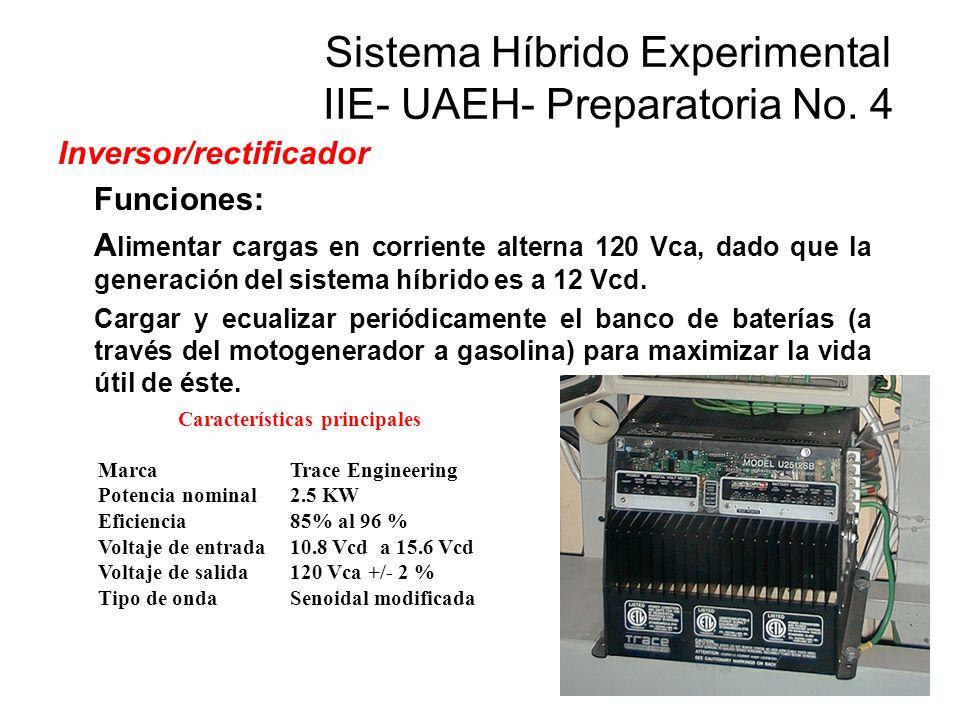 Inversor/rectificador Funciones: A limentar cargas en corriente alterna 120 Vca, dado que la generación del sistema híbrido es a 12 Vcd. Cargar y ecua