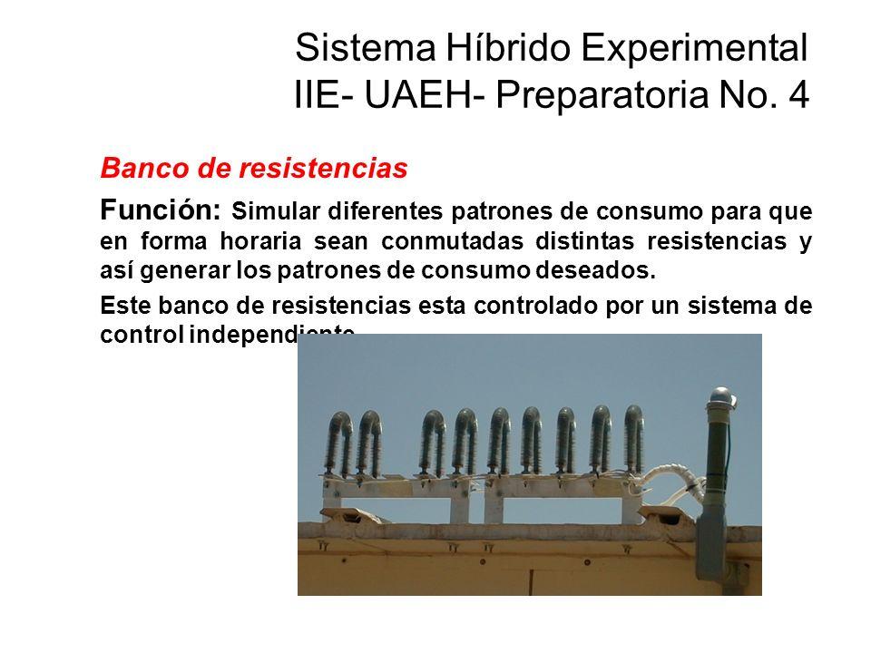 Banco de resistencias Función: Simular diferentes patrones de consumo para que en forma horaria sean conmutadas distintas resistencias y así generar l