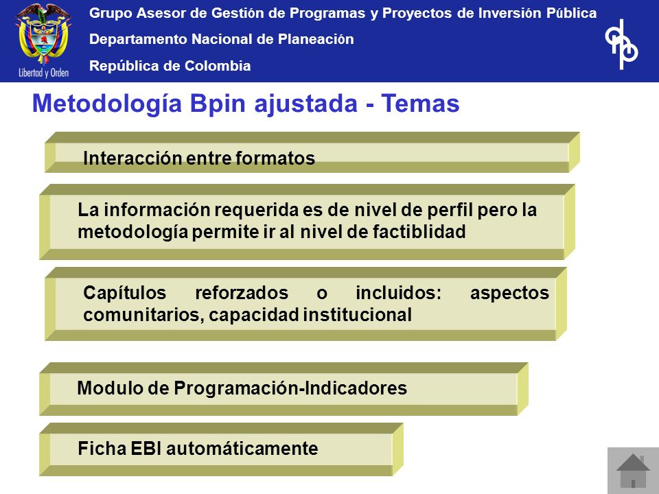 Grupo Asesor de Gesti ó n de Programas y Proyectos de Inversi ó n P ú blica Departamento Nacional de Planeaci ó n República de Colombia Capítulos refo
