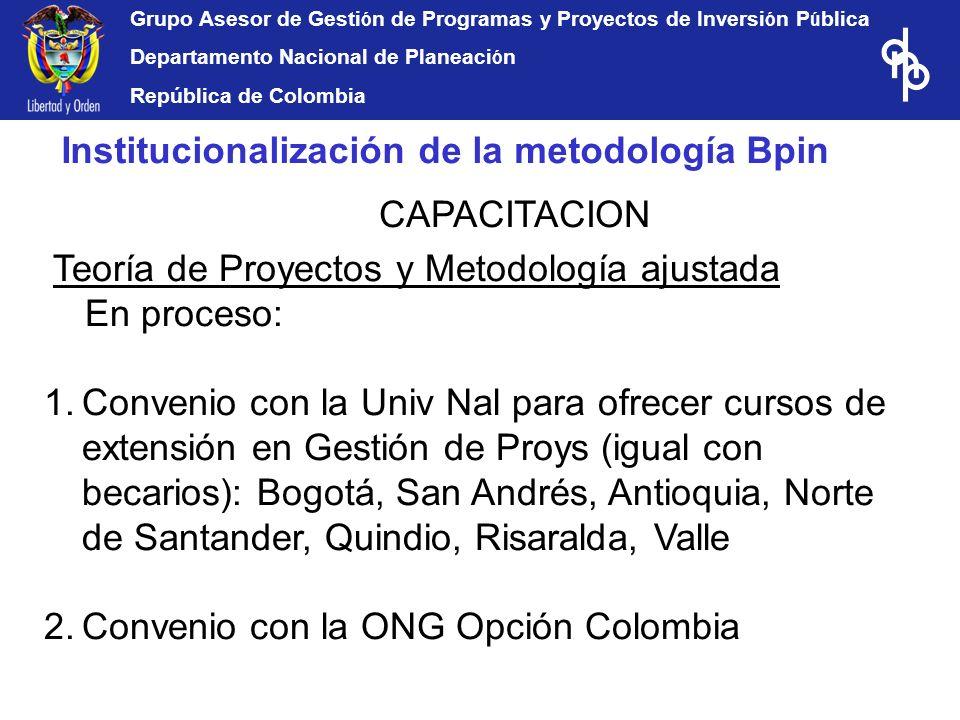 Grupo Asesor de Gesti ó n de Programas y Proyectos de Inversi ó n P ú blica Departamento Nacional de Planeaci ó n República de Colombia Teoría de Proy