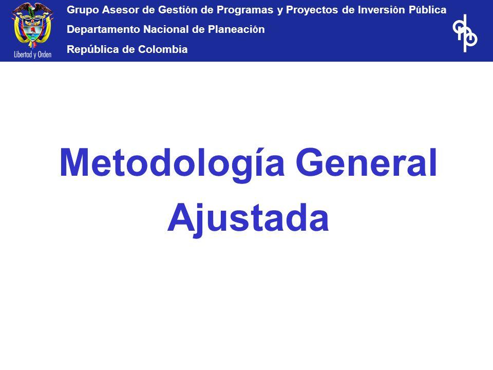 Grupo Asesor de Gesti ó n de Programas y Proyectos de Inversi ó n P ú blica Departamento Nacional de Planeaci ó n República de Colombia Metodología Ge