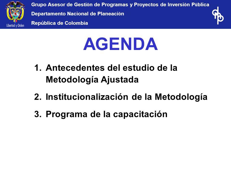 Grupo Asesor de Gesti ó n de Programas y Proyectos de Inversi ó n P ú blica Departamento Nacional de Planeaci ó n República de Colombia AGENDA 1.Antec