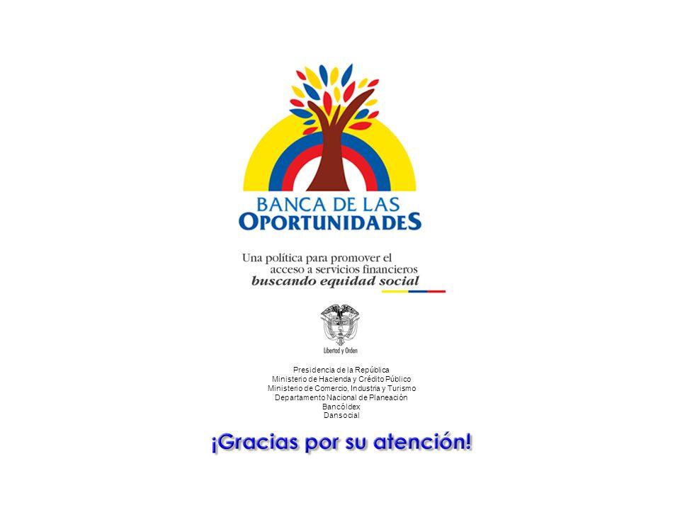 Una política para promover el acceso a servicios financieros buscando equidad social Presidencia de la República Ministerio de Hacienda y Crédito Público Ministerio de Comercio, Industria y Turismo Departamento Nacional de Planeación Bancóldex Dansocial