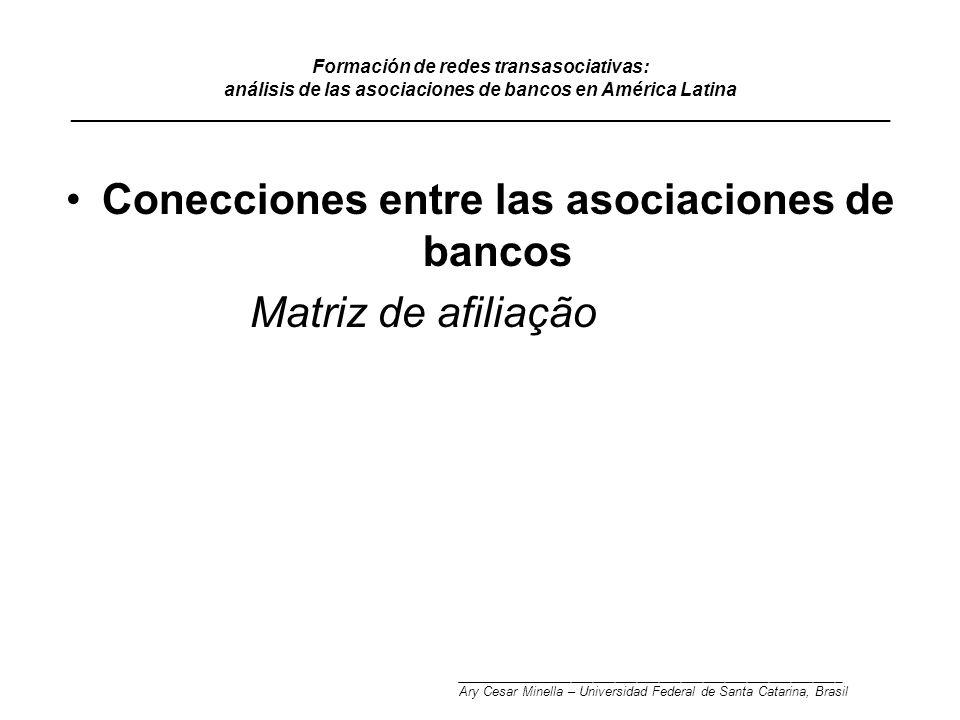 Formación de redes transasociativas: análisis de las asociaciones de bancos en América Latina _______________________________________________________________________________ Conecciones entre las asociaciones de bancos Matriz de afiliação _____________________________________________________ Ary Cesar Minella – Universidad Federal de Santa Catarina, Brasil