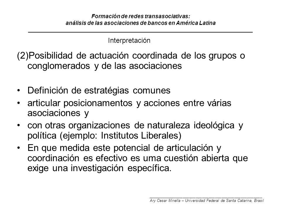 Formación de redes transasociativas: análisis de las asociaciones de bancos en América Latina __________________________________________________________________________ (2)Posibilidad de actuación coordinada de los grupos o conglomerados y de las asociaciones Definición de estratégias comunes articular posicionamentos y acciones entre várias asociaciones y con otras organizaciones de naturaleza ideológica y política (ejemplo: Institutos Liberales) En que medida este potencial de articulación y coordinación es efectivo es uma cuestión abierta que exige una investigación específica.