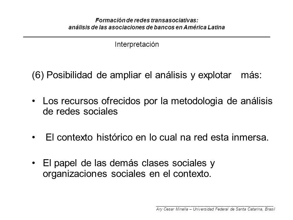 Formación de redes transasociativas: análisis de las asociaciones de bancos en América Latina ______________________________________________________________________________ (6) Posibilidad de ampliar el análisis y explotar más: Los recursos ofrecidos por la metodologia de análisis de redes sociales El contexto histórico en lo cual na red esta inmersa.