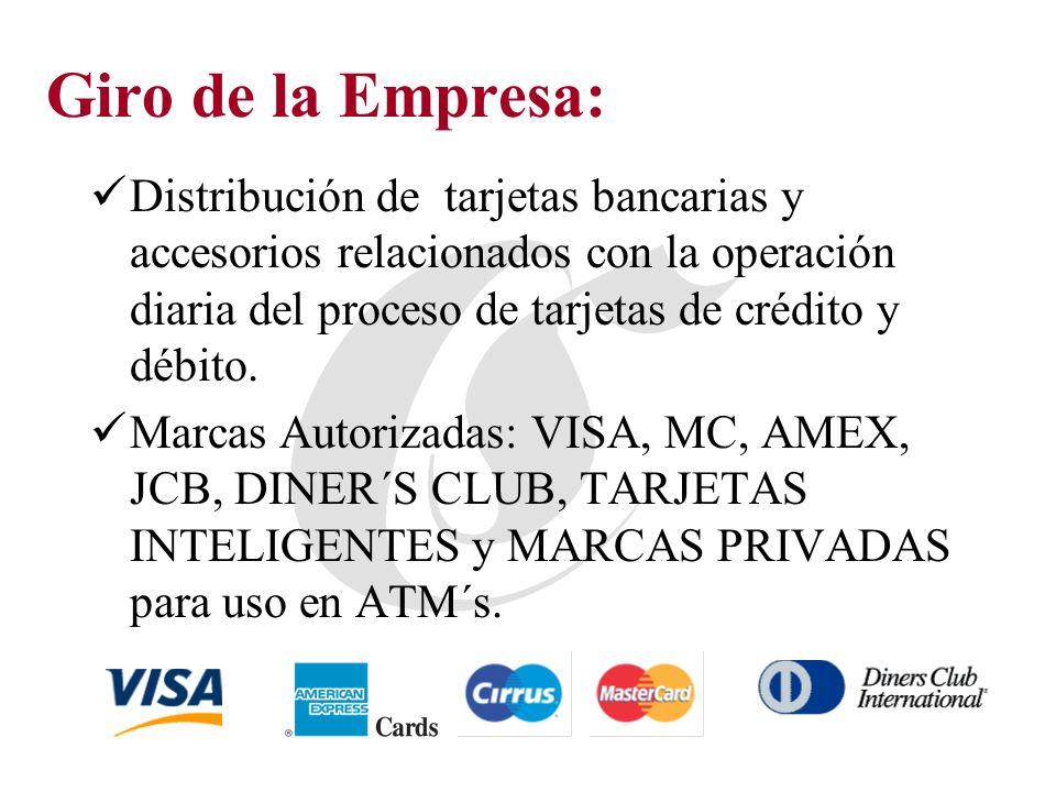Giro de la Empresa: Distribución de tarjetas bancarias y accesorios relacionados con la operación diaria del proceso de tarjetas de crédito y débito.