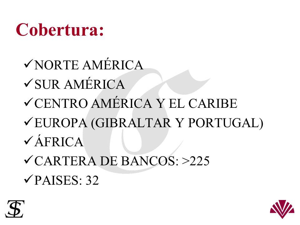 Cobertura: NORTE AMÉRICA SUR AMÉRICA CENTRO AMÉRICA Y EL CARIBE EUROPA (GIBRALTAR Y PORTUGAL) ÁFRICA CARTERA DE BANCOS: >225 PAISES: 32