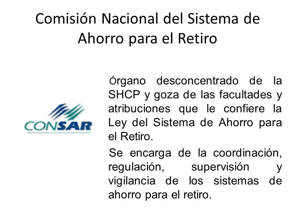 Comisión Nacional del Sistema de Ahorro para el Retiro Ó rgano desconcentrado de la SHCP y goza de las facultades y atribuciones que le confiere la Le