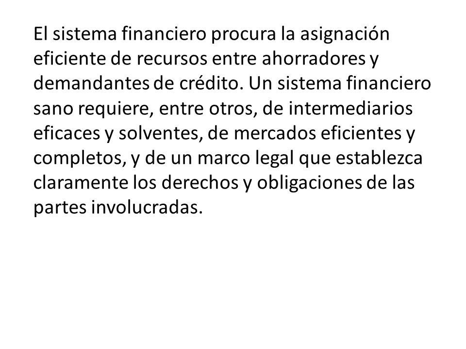 El sistema financiero procura la asignación eficiente de recursos entre ahorradores y demandantes de crédito. Un sistema financiero sano requiere, ent