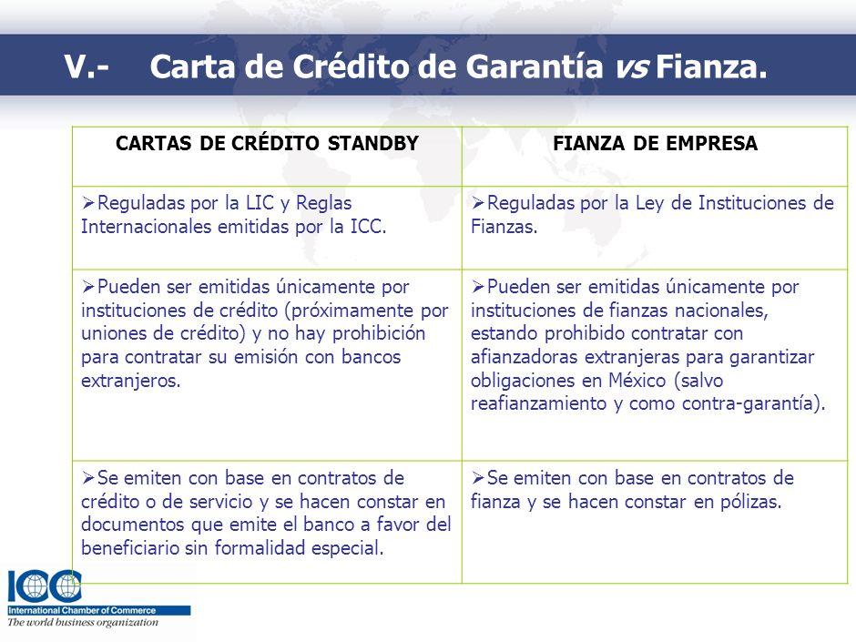 V.-Carta de Crédito de Garantía vs Fianza. CARTAS DE CRÉDITO STANDBYFIANZA DE EMPRESA Reguladas por la LIC y Reglas Internacionales emitidas por la IC