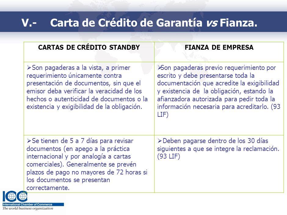 V.-Carta de Crédito de Garantía vs Fianza. CARTAS DE CRÉDITO STANDBYFIANZA DE EMPRESA Son pagaderas a la vista, a primer requerimiento únicamente cont