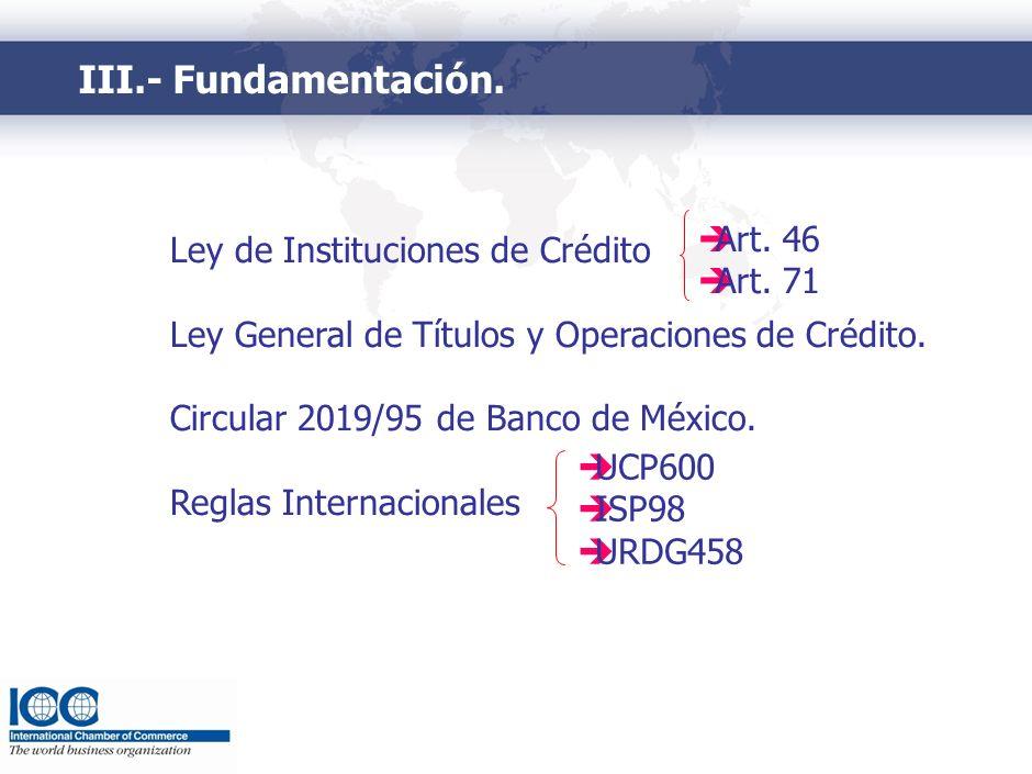 III.- Fundamentación. Ley de Instituciones de Crédito Ley General de Títulos y Operaciones de Crédito. Circular 2019/95 de Banco de México. Reglas Int