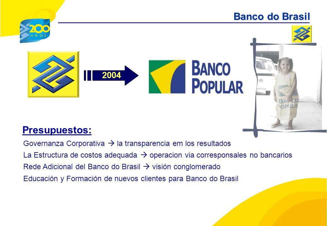Presupuestos: Governanza Corporativa la transparencia em los resultados La Estructura de costos adequada operacion via corresponsales no bancarios Rede Adicional del Banco do Brasil visión conglomerado Educación y Formación de nuevos clientes para Banco do Brasil 2004 Banco do Brasil
