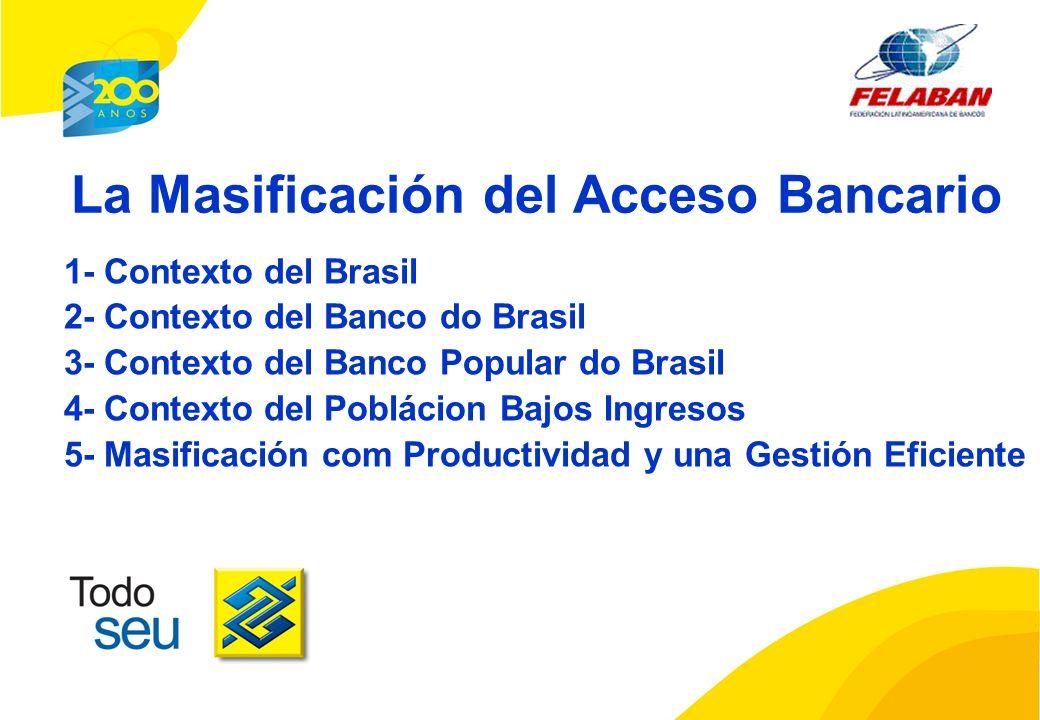 La Masificación del Acceso Bancario 1- Contexto del Brasil 2- Contexto del Banco do Brasil 3- Contexto del Banco Popular do Brasil 4- Contexto del Poblácion Bajos Ingresos 5- Masificación com Productividad y una Gestión Eficiente